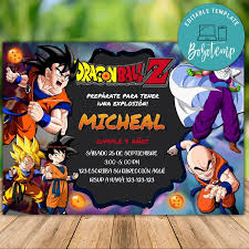 Invitacion De Cumpleanos De Dragon Ball Z Imprimible Descarga
