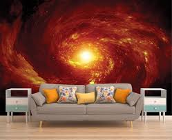 Space Wall Covering Red Star Wall Decal Space Wallpaper Etsy