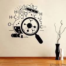 Chemistry Scientist Art Stickers Wallpaper Teens Bedroom Removable Home Decoration Science Vinyl Wall Decal Lab Decor Mural S518 Decoration Murale Vinyl Wall Decalswall Decals Aliexpress