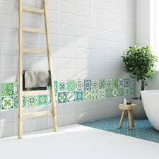 Shop Walplus Turkish Green Tile Stickers Peel And Stick Wall Sticker Decal 24pcs 4 Overstock 31665052