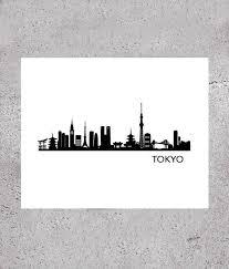 Tokyo Skyline Cityscape Printable Tokyo Urban Art Tokyo Etsy