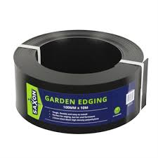 saxon 100mm x 10m black garden edge
