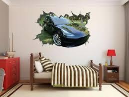 Tesla Model 3 Wall Hole 3d Decal Vinyl Sticker Decor Room Smashed Luxury Car Ebay
