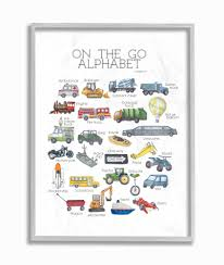The Kids Room By Stupell Watercolor On The Go Transportation Alphabet With Firetruck Airplane And School Bus Framed Wall Art By Dishique Walmart Com Walmart Com