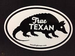 Texas Highways True Texan Armadillo Car Decal Sticker Fs 1923817516