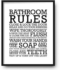 Amazon Com Funny Bathroom Wall Art Prints Unframed 8 X 10 Restroom Powder Room Wash Room Wall Decor Signs Posters Bathroom Rules Posters Prints