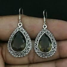 smoky quartz handmade dangle earrings