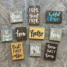 Using Vinyl Decals To Make Rustic Wood Signs Wooden Signs Diy Painted Wood Signs Painted Wooden Signs