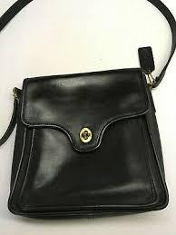 coach black leather purse cross