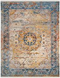oriental blue tan orange area rug