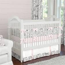 pink and gray woodland crib bedding