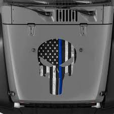 Police Officer Thin Blue Line Flag Decal Punisher Skull Sticker