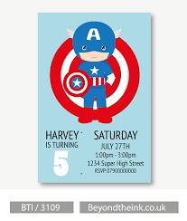 Personalised Captain America Invitation Fiesta Capitan America