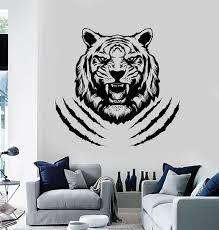 Vinyl Wall Decal Aggressive Tiger Tribal Predator Head Animal Stickers Wallstickers4you