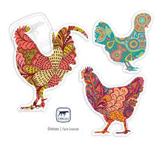 Chicken Decals Set Of Three Fowl Dog