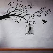 Caged Bird Tree Branch Wall Stickers Vinyl Wall Decal Animals And Birds Wall Stickers Let Bird Free Decor Bedrooms Mural Wall Decals Animals Branch Wall Stickersbird Wall Sticker Aliexpress