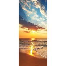 3d Colorful Sky Sunrise Beach Self Adhesive Bedroom Door Murals Wall Stickers