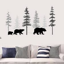 Forest Bear Tree Wall Decals Custom Colors Pine Tree Sticker Childrens Bedroom Living Room Self Adhesive Mural Ds029 T200421 Art Decal Art Decals From Xue10 26 58 Dhgate Com