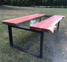 Custom Live Edge Cedar Coffee Table With Glass Channel By Southern Grain Craftsmen Custommade Com