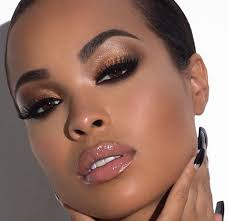 natural makeup look on dark skin