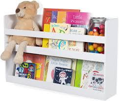 Amazon Com Brightmaison Children S Kids Room White Floating Wall Shelf Wood Bunk Bed Decor Nursery Room Books And Toys Organization Storage Bookshelf Decor Ships Assembled Toys Games