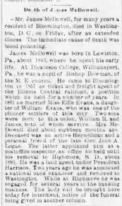 Death of James McDowell husb of Effie Evans - Newspapers.com