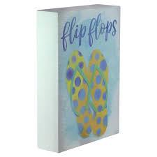 Northlight 7 25 In Decorative Yellow And Orange With Blue Polka Dots Flip Flops Wooden Wall Plaque 32749487 The Home Depot