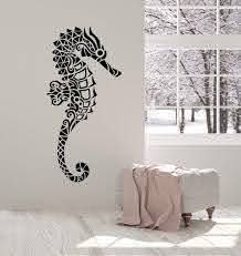 Vinyl Wall Decal Abstract Geometric Seahorse Sea Ocean Animals Sticker Wallstickers4you