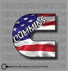 Dodge Ram C Cummins American Flag Sticker Decal Firehouse Graphics