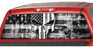 American Flag Punisher Skull Rear Window Graphic Decal Pickup Truck Detective Ebay