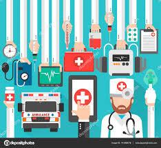 Lékařské online designu bytu s lékař a sanitka — Stock Vektor © dicrafstman  #141895016