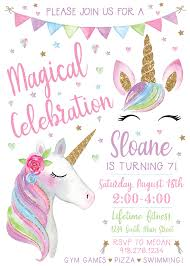 Unicorn Birthday Invitation Print Yourself Invitaciones De