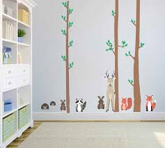 Woodland Animals Wall Decals Deer Wall Decals Trees Wall Etsy