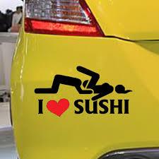 12 6cm Car Styling I Love Sushi Car Stickers Window Rear Windshield Motorcycle Vinyl Decal Car Body Funny Sticker Wish