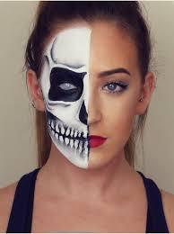 simple half face skeleton makeup