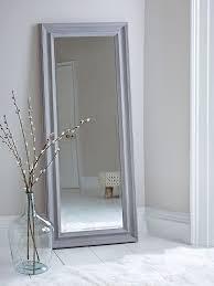 framed mirror 600mm stone grey
