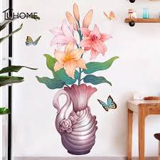 Pastoral Colorful Flower Vase Wall Stickers Creative Wall Art Decal Sticker Wallpaper Removable Mural Pvc Home Decorations Decor Wall Stickers Aliexpress