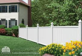 4 Foot X 6 Foot White Vinyl Fence With Decorative Posts Freedom Fencing Built By Barrette And Manufactured Excl White Vinyl Fence Vinyl Fence Building A Fence