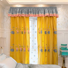 Yellow Elephant Embroidery Cute Kids Curtains Without Valance