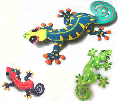 gecko wall art combo 3 hand painted