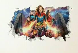 Avengers Endgame Captain Marvel Wall Decal Smashed 3d Sticker Art Vinyl Js827