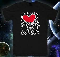 Keith Haring Holding Heart Wall Decal T Shirt Size S 3xl Ebay