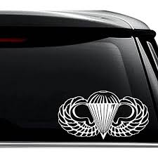 Amazon Com Us Army Airborne Paratrooper Decal Sticker For Use On Laptop Helmet Car Truck Motorcycle Windows Bumper Wall And Decor Size 6 Inch 15 Cm Wide Color Gloss Black Arts