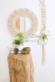 mirror with macrame frame houseplant