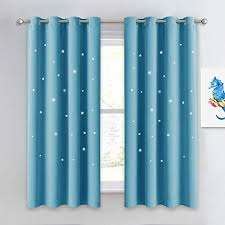 Amazon Com Nicetown Twinkle Star Curtains For Baby Kid Sky Wonder Star Cut Out Functional Room Darkening Curtains For Baby S Nursery 52 By 63 Inches Teal Blue 2 Pieces Home Kitchen