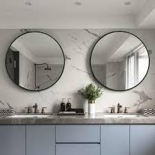 80cm black framed round wall mirror