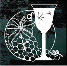Grapes Wine Glass Decals Car Window Stickers Decal Junky