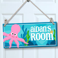 Personalized Kids Sign For Wall Door Under The Sea Octopus Theme Room Decor