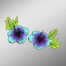 Amazon Com Jb Print Hibiscus Flower Blue Purple Vinyl Decal Sticker Car Waterproof Car Decal Bumper Sticker 5 Kitchen Dining