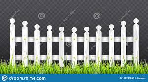 White Wooden Fence With Green Grass Vector Illustration Isolated On Transparent Background Stock Vector Illustration Of Cartoon Boundary 182743850